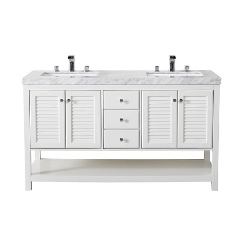 Stufurhome Luthor 60 Inch White Double Sink Bathroom Vanity
