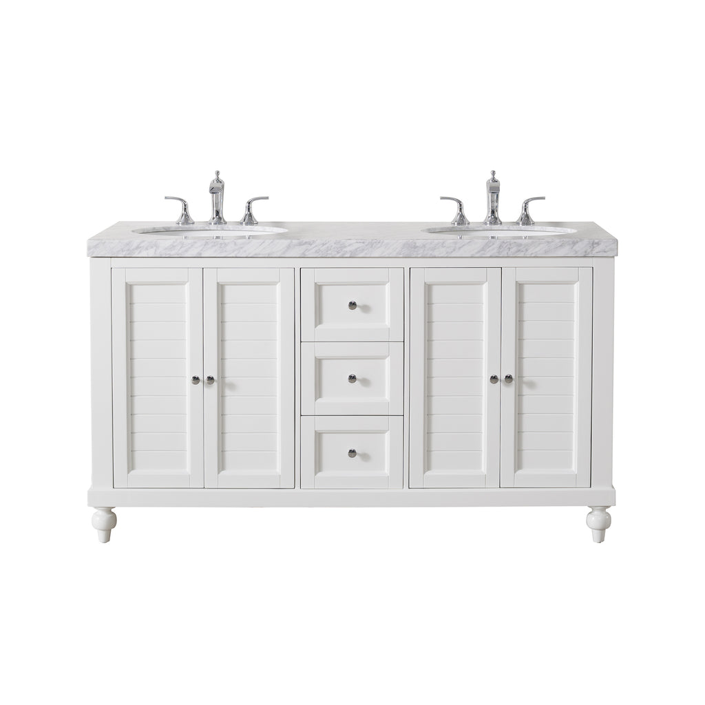 Stufurhome Kent 60 Inch White Double Sink Bathroom Vanity