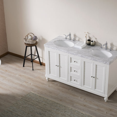 Stufurhome Kent 60 Inch White Double Sink Bathroom Vanity with Drains and Faucets in Chrome