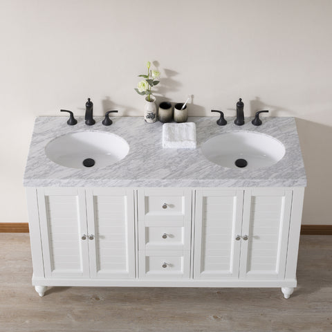 Stufurhome Kent 60 Inch White Double Sink Bathroom Vanity with Drains and Faucets in Matte Black