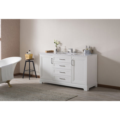 Stufurhome Idlewind 60 Inch White Single Sink Bathroom Vanity with Drain and Faucet in Chrome