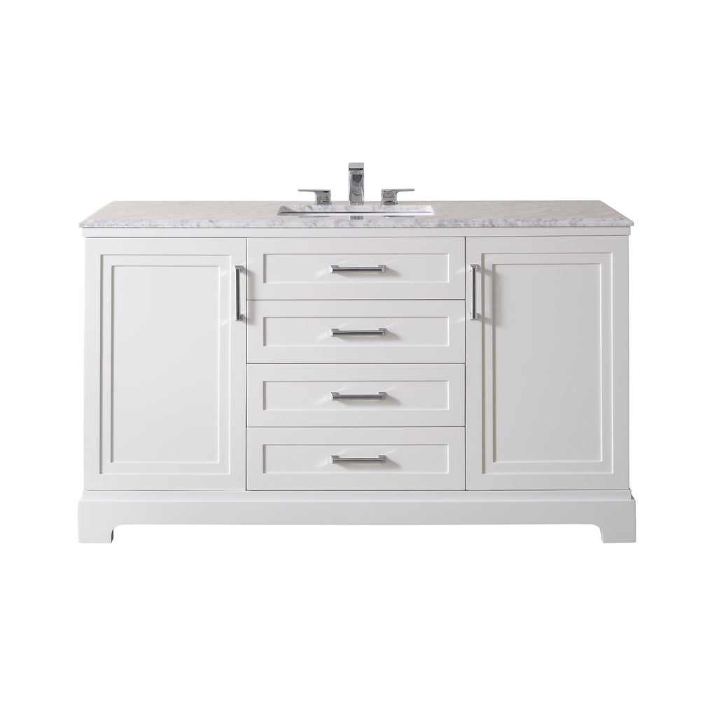 Stufurhome Idlewind 60 Inch White Single Sink Bathroom Vanity