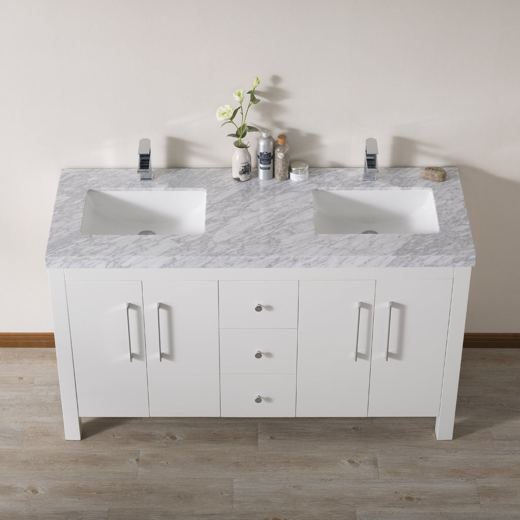 Stufurhome Adler 60 Inch White Double Sink Bathroom Vanity with Drains and Faucets in Chrome