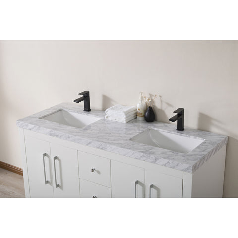 Stufurhome Adler 60 Inch White Double Sink Bathroom Vanity with Drains and Faucets in Matte Black