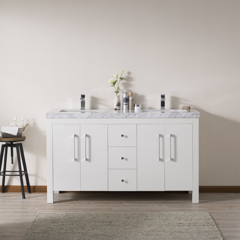 Stufurhome Adler 60 Inch White Double Sink Bathroom Vanity