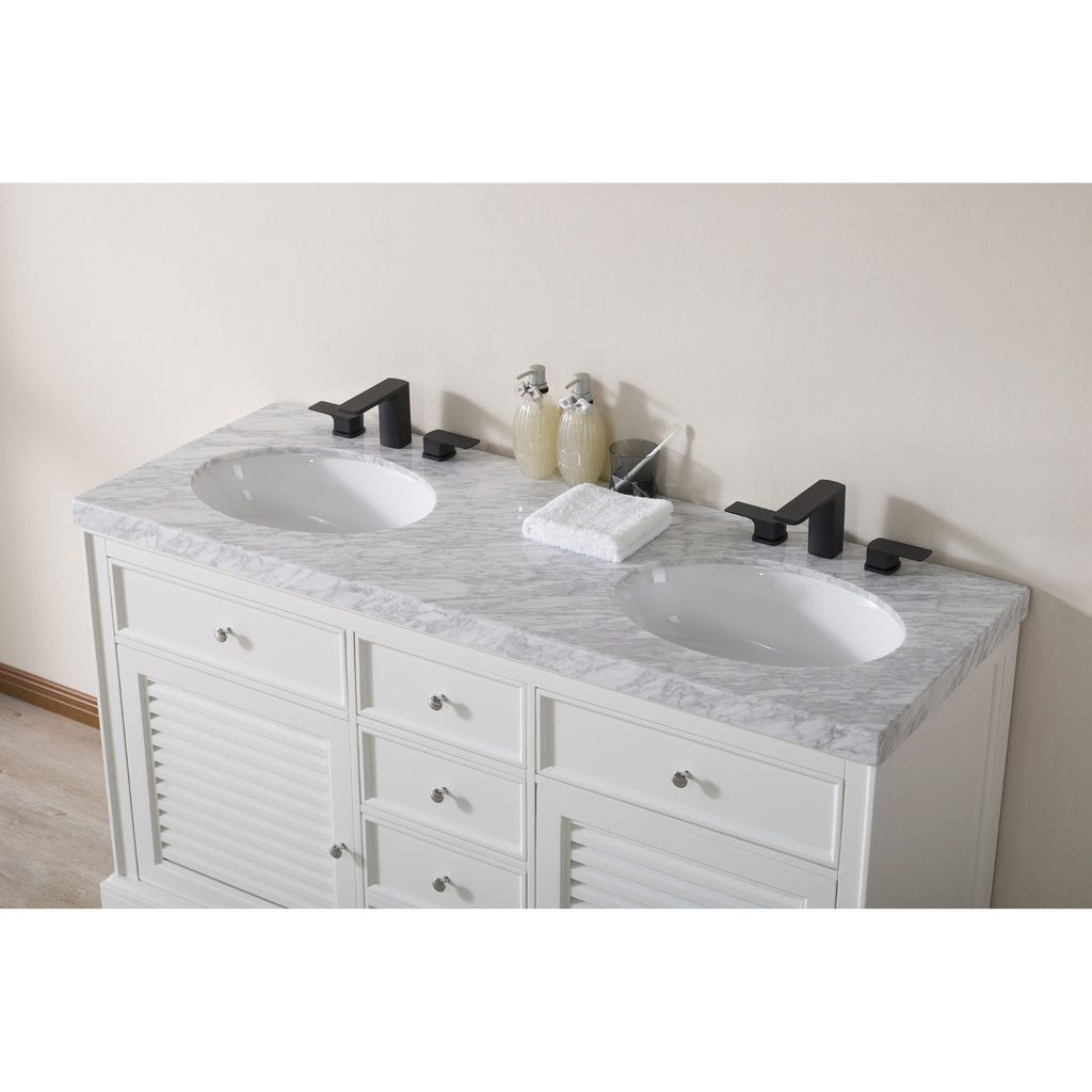 Stufurhome Magnolia 60 Inch White Double Sink Bathroom Vanity with Drains and Faucets in Matte Black