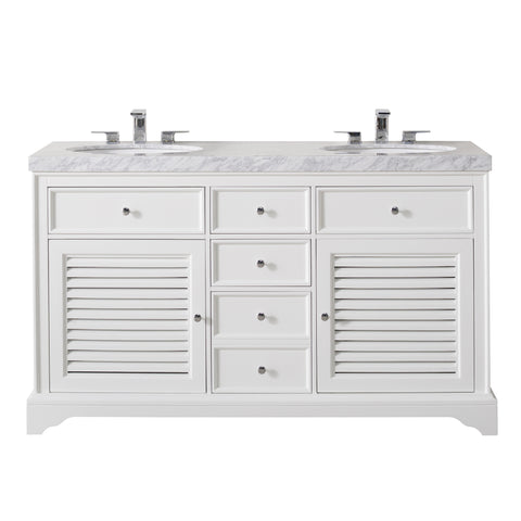 Stufurhome Magnolia 60 Inch White Double Sink Bathroom Vanity with Drains and Faucets in Chrome