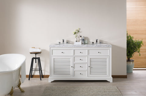 Stufurhome Magnolia 60 Inch White Double Sink Bathroom Vanity