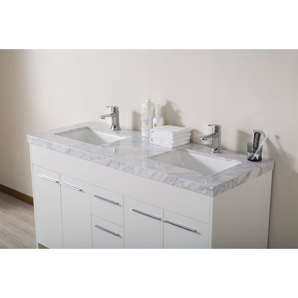 Stufurhome Lotus 60 Inch White Double Sink Bathroom Vanity with Drains and Faucets in Chrome