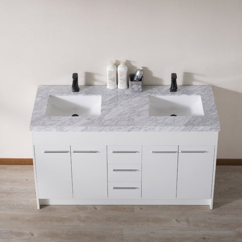 Stufurhome Lotus 60 Inch White Double Sink Bathroom Vanity with Drains and Faucets in Matte Black