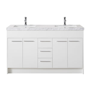 Stufurhome Lotus 60 Inch White Double Sink Bathroom Vanity