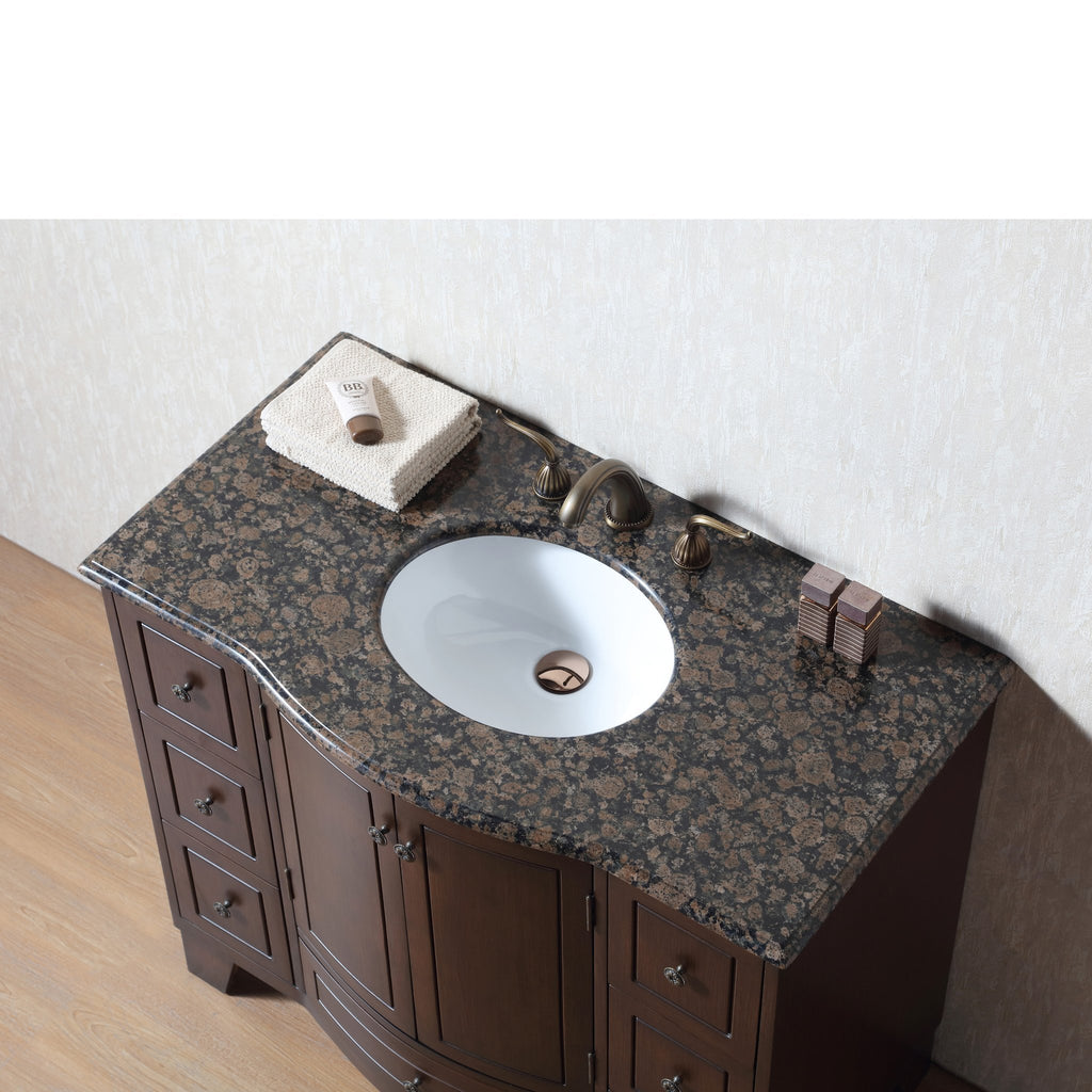Stufurhome 40 inch Grand Cheswick Single Sink Vanity with Baltic Brown Granite Top