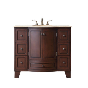 Stufurhome 40 inch Grand Cheswick Single Sink Vanity with Travertine Marble Top
