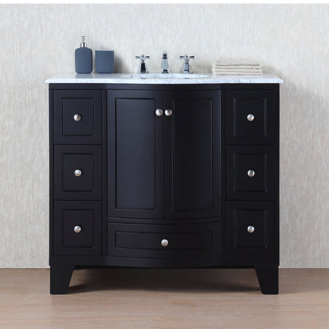 Stufurhome 40 inch Grand Cheswick Espresso Single Sink Vanity with Carrara Marble Top