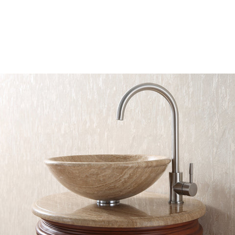 Stufurhome 23 inch Edwina Single Sink Vanity with Travertine Marble Top