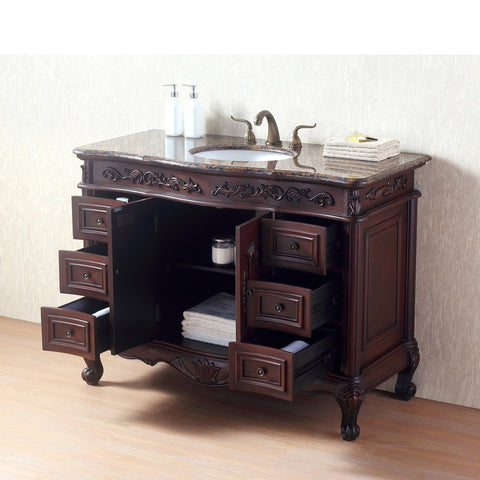 Stufurhome 48 Inches Saturn Single Sink Vanity with Baltic Brown Granite Top