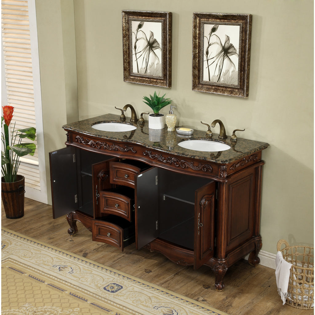 Stufurhome 60 inch Saturn Double Sink Vanity with Baltic Brown Granite Top