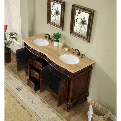Stufurhome 60 inch Saturn Double Sink Vanity with Travertine Marble Top