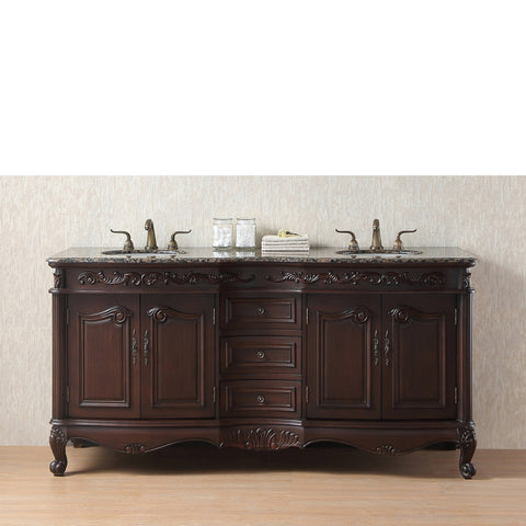 Stufurhome 72 inch Saturn Double Sink Vanity with Baltic Brown Granite Top
