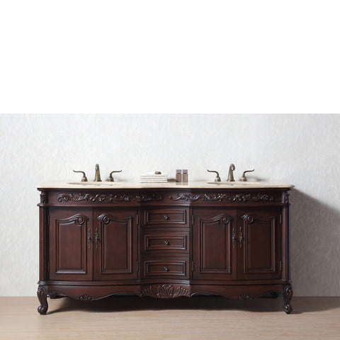 Stufurhome 72 inch Saturn Double Sink Vanity with Travertine Marble Top