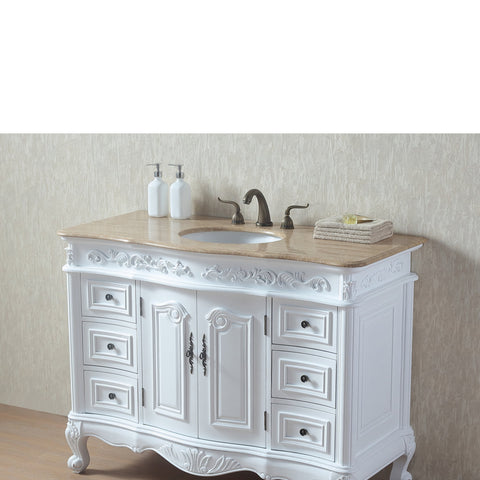 Stufurhome 48 Inches White Saturn Single Sink Vanity with Travertine Marble Top