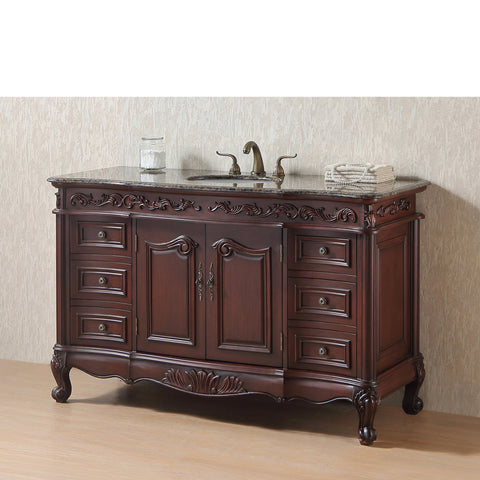 Stufurhome 56 inch Princeton Single Sink Bathroom Vanity with Baltic Brown Granite Top
