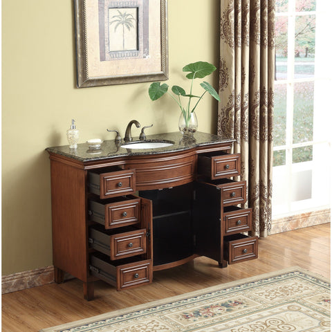 Stufurhome 48 inch Yorktown Single Sink Vanity with Baltic Brown Granite Top