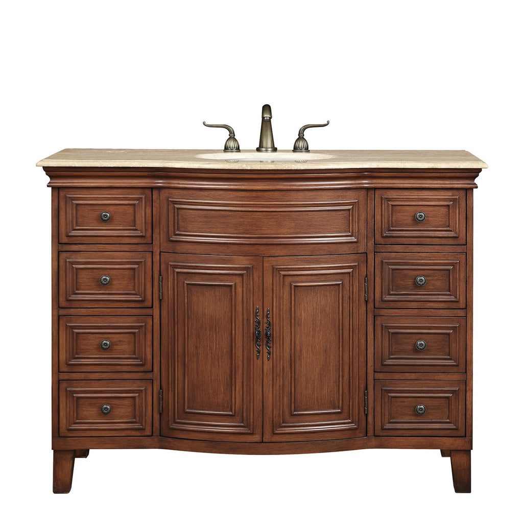 Stufurhome 48 inch Yorktown Single Sink Vanity with Travertine Marble Top