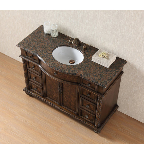 Stufurhome 48 inch Amelia Single Sink Vanity with Baltic Brown Granite Top