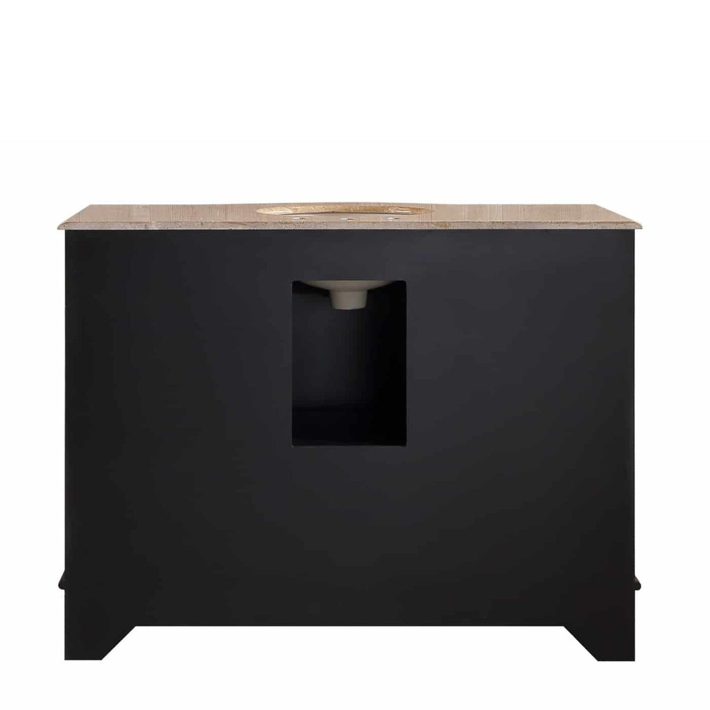 Stufurhome 48 inch Lotus Single Sink Vanity with Travertine Marble Top and Mirror