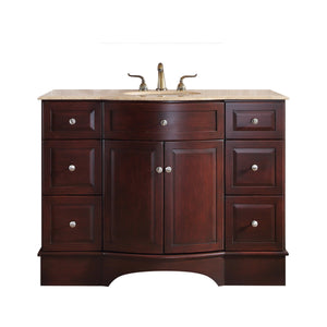 Stufurhome 48 inch Lotus Single Sink Vanity with Travertine Marble Top