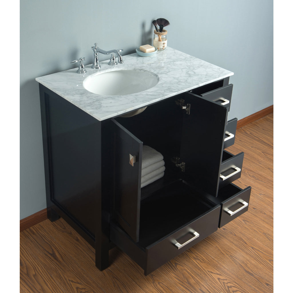 Stufurhome 36 inch Malibu Espresso Single Sink Bathroom Vanity