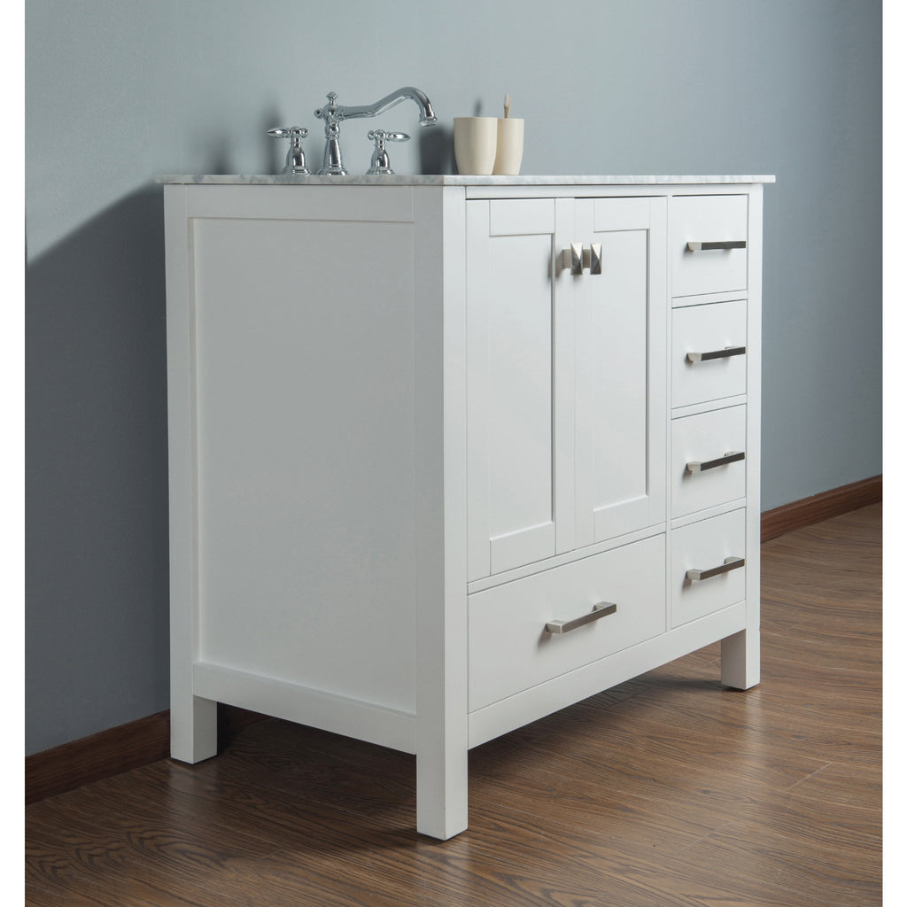 Stufurhome 36 inch Malibu Pure White Single Sink Bathroom Vanity