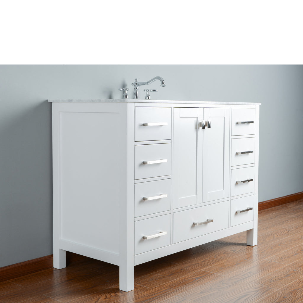 Stufurhome 48 inch Malibu Pure White Single Sink Bathroom Vanity
