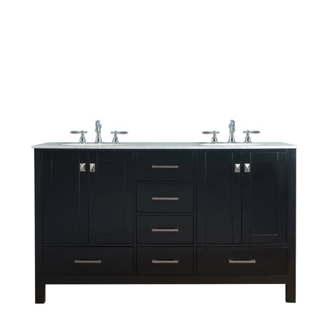 Stufurhome 60 inch Malibu Espresso Double Sink Bathroom Vanity