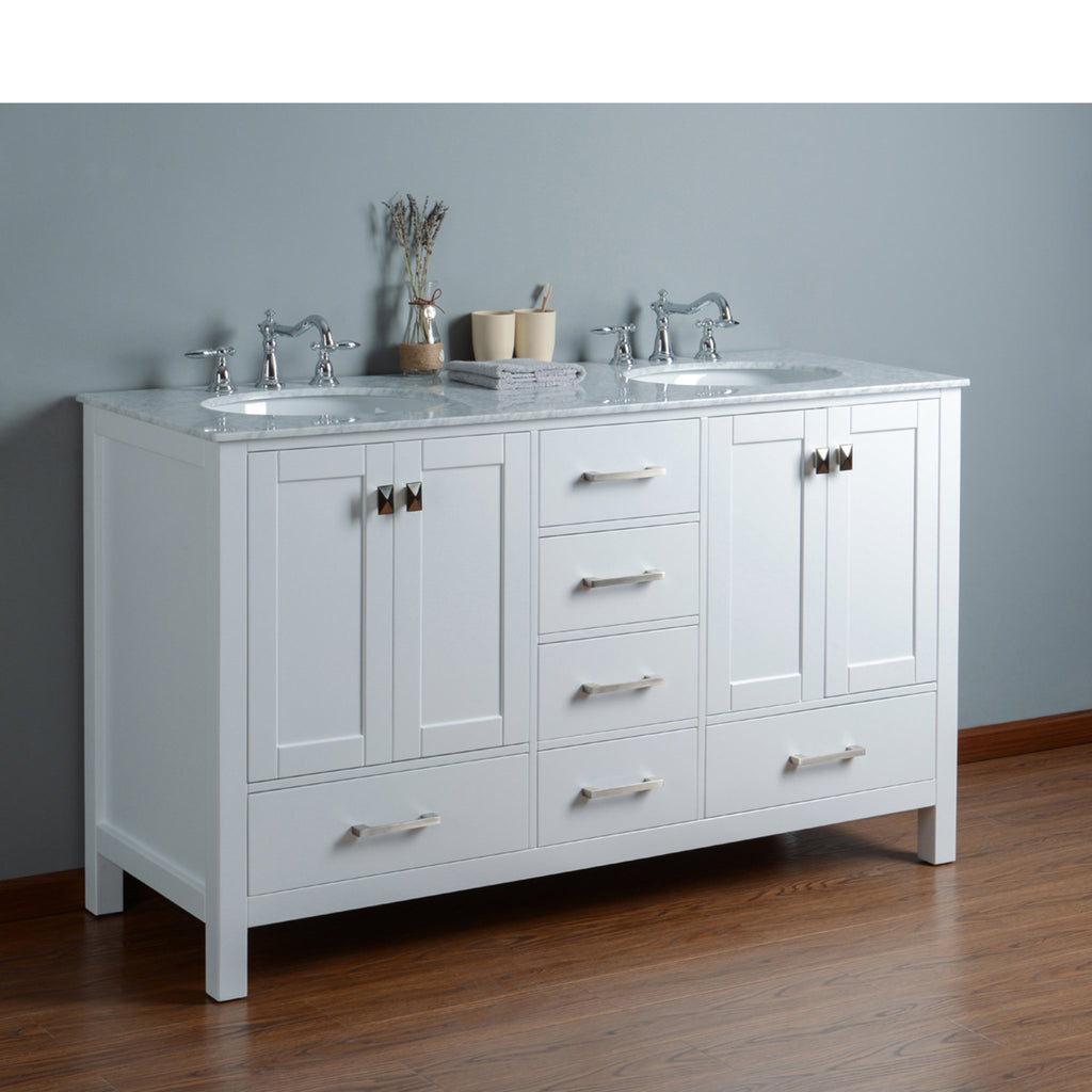 Stufurhome 60 inch Malibu Pure White Double Sink Bathroom Vanity