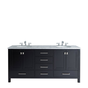 Stufurhome Malibu 72 Inch Espresso Double Sink Bathroom Vanity