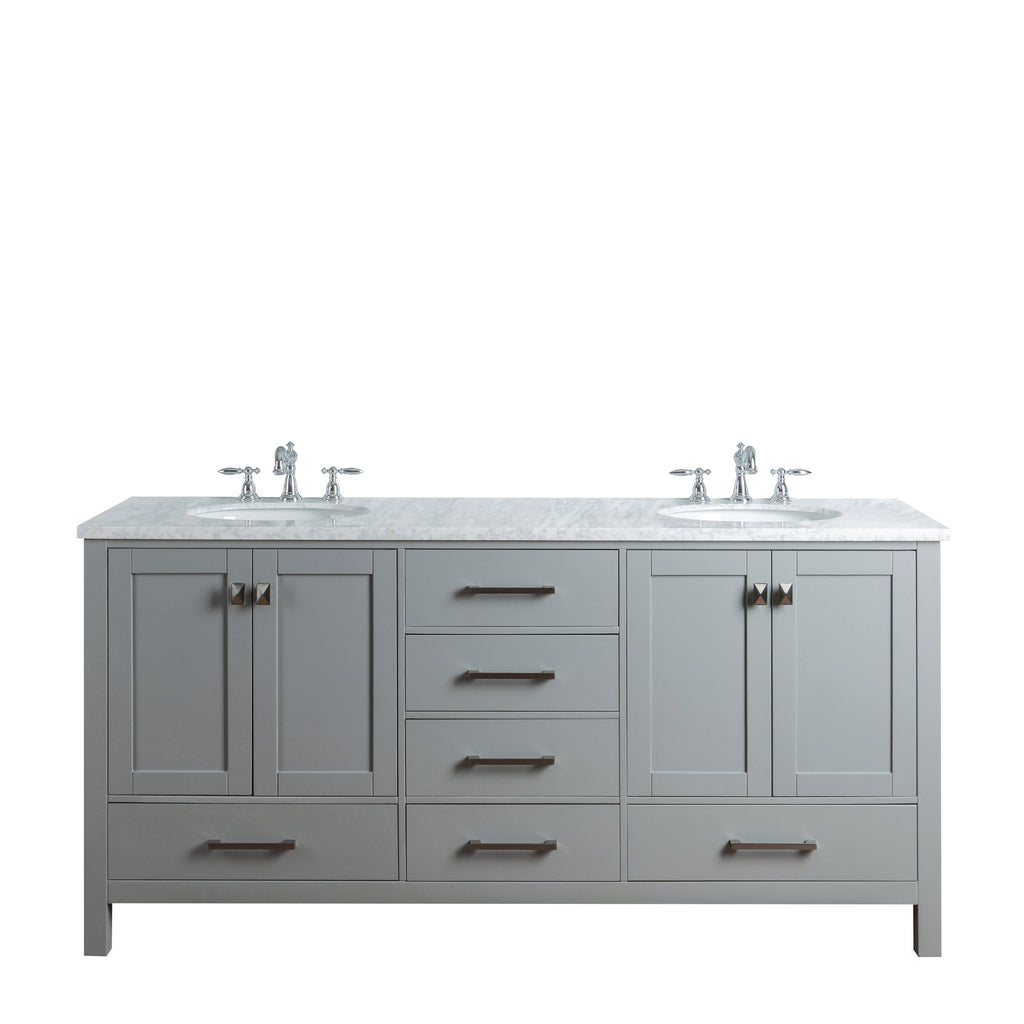 Miraculous Stufurhome 72 Inch Malibu Grey Double Sink Bathroom Vanity Home Interior And Landscaping Ologienasavecom