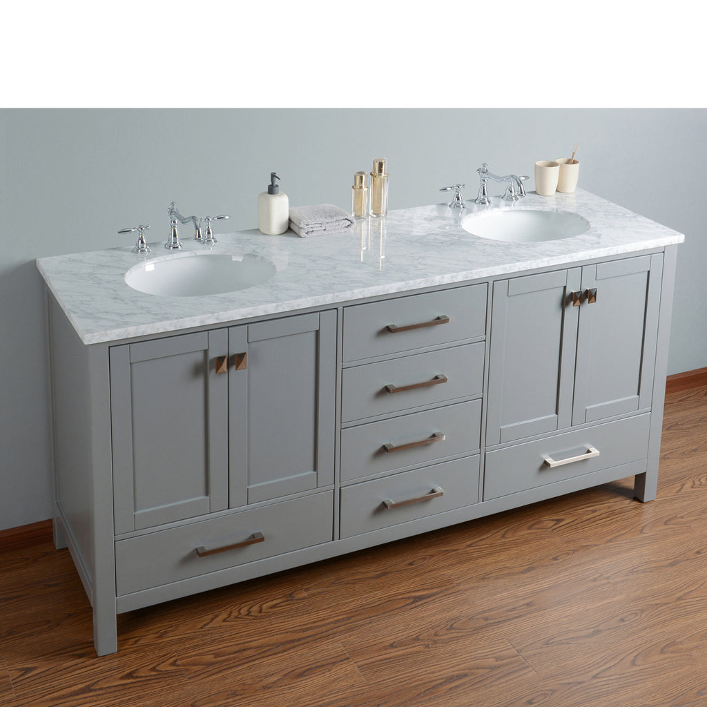 Stufurhome 72 inch Malibu Grey Double Sink Bathroom Vanity