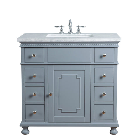 Stufurhome Abigail Embellished 36 Inches Grey Single Sink Bathroom Vanity