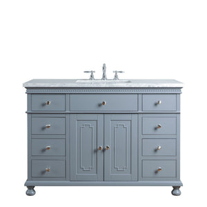 Stufurhome Abigail Embellished 48 Inches Grey Single Sink Bathroom Vanity