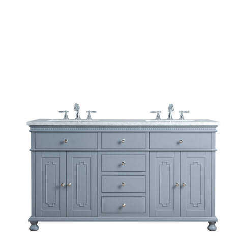 Stufurhome Abigail Embellished 60 Inches Grey Double Sink Bathroom Vanity