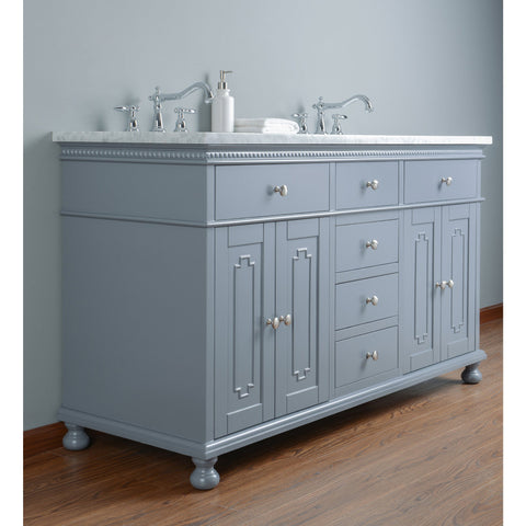 stufurhome abigail embellished 60 inches grey double sink