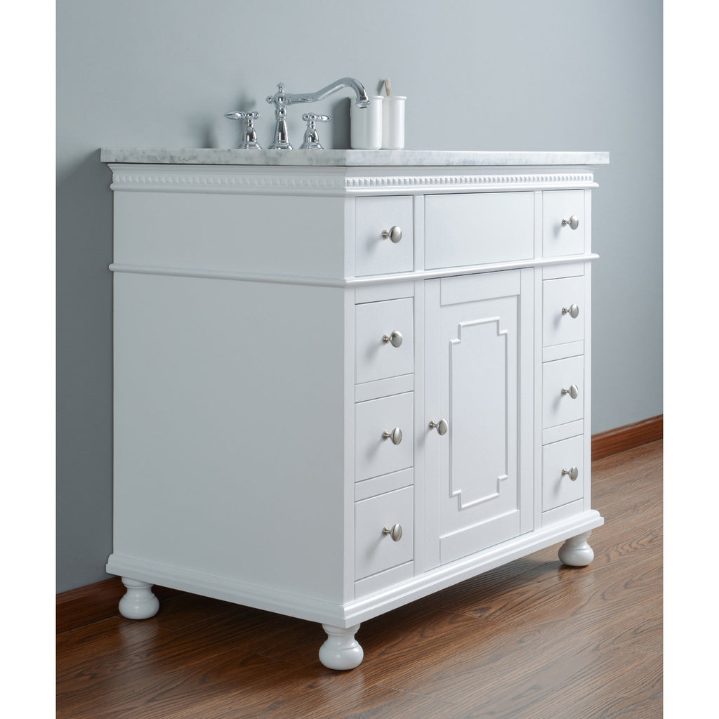Stufurhome Abigail Embellished 36 Inches White Single Sink Bathroom Vanity