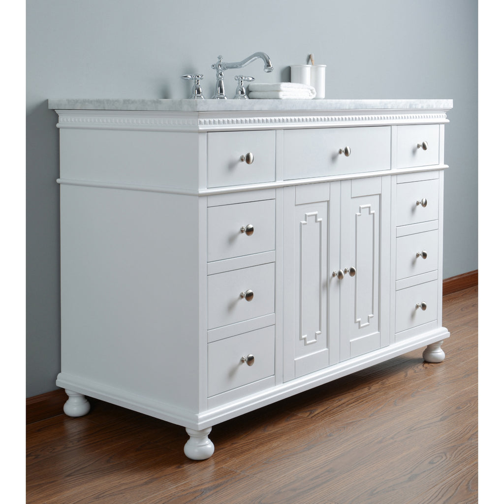 Stufurhome Abigail Embellished 48 Inches White Single Sink Bathroom Vanity