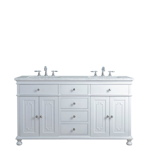 Stufurhome Abigail Embellished 60 Inches White Double Sink Bathroom Vanity