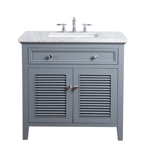 Stufurhome Genevieve 36 Inches Slate Gray Single Vanity Cabinet w/ Shutter Double Doors Single Bathroom Sink