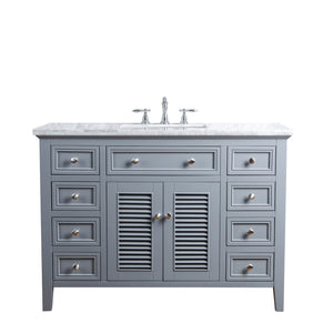Stufurhome Genevieve 48 Inches Slate Gray Single Vanity Cabinet w/ Shutter Double Doors Single Bathroom Sink