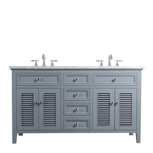 Stufurhome Genevieve 60 Inches Slate Gray Double Vanity Cabinet w/ Shutter Double Doors Dual Bathroom Sinks