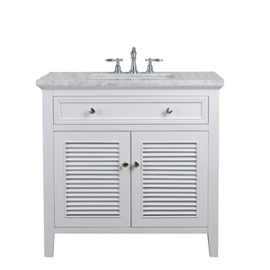 Stufurhome Genevieve 36 Inches White Single Vanity Cabinet w/ Shutter Double Doors Single Bathroom Sink